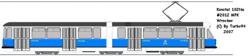 Konstal 102Na #2012 z MPK Wrocław. Skasowany już wóz, rysunek oddaje jego stan, gdy był fabrycznie nowy.