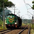 SM42-924 z dwoma wagonami jako pociąg do Nowych Skalmierzyc. podg. Stary Staw. 21.08.08r. #smród #smrodek #wibrator #stonka #maszyna #lokomotywa #pociąg